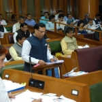 Haryana Finance Minister, Captain Abhimanyu presenting Budget for the Year 2016-17 in ongoing Budget Session of the State Assembly in Chandigarh on March 21, 2016.