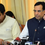 Haryana Finance Minister, Captain Abhimanyu addressing a press conference after presenting Budget of the State for the Year 2016-17, at Vidhan Sabha in Chandigarh on March 21, 2016. To his right is Additional Chief Secretary, Finance, Mr. Sanjeev Kaushal.